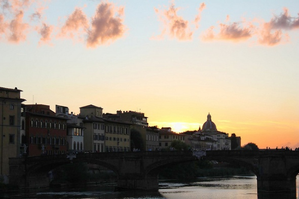 River Arno at Sunset, Italy - Photo by Brian Cleary