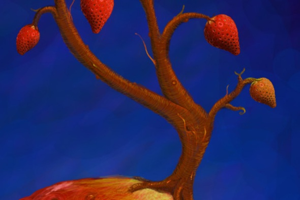 Strawberry - photoshop painting detail 1 by Nicole Barker