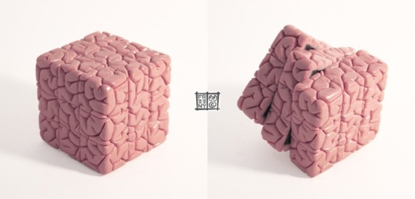Brain Cube 1000 Sculpture by Jason Freeny