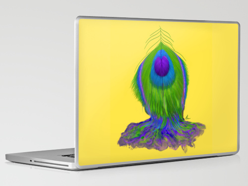 Melting Peacock Feather - laptop skin design by Nicole Barker