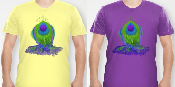 Melting Peacock Feather - t-shirt designs design by Nicole Barker