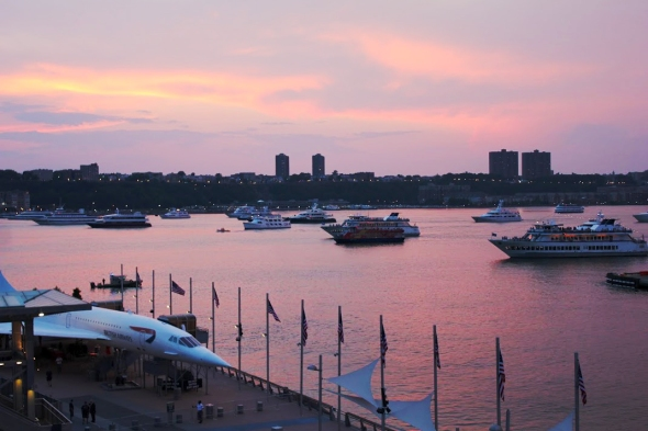 sunset off the USS Intrepid - photo by Brian Cleary