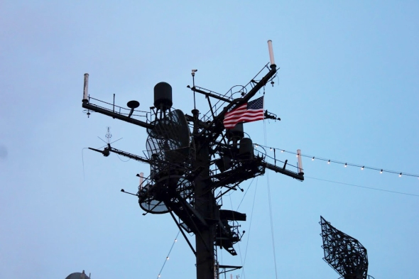 Tallest tower on the ship proudly waving the American flag - photo by Brian Cleary