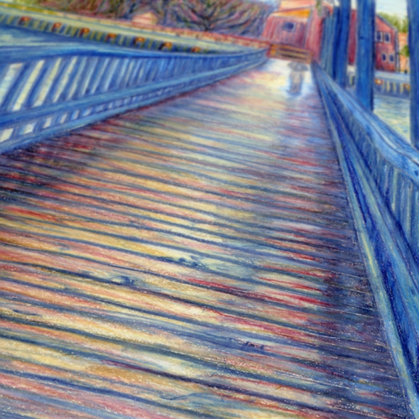 Water Over The Bridge - Colored Pencil Drawing - crop 1 by Nicole Barker
