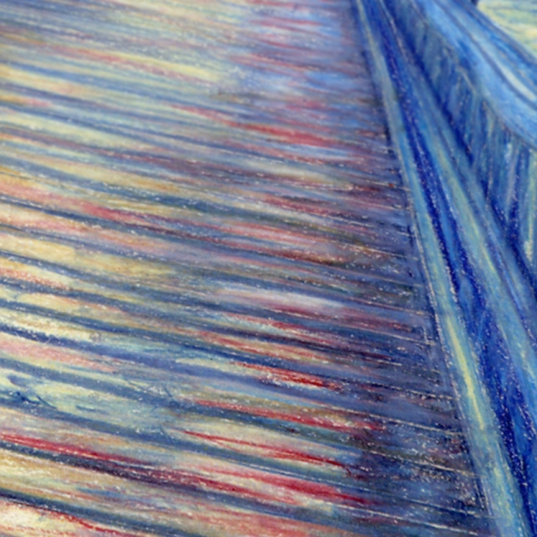 Water Over The Bridge - Colored Pencil Drawing - crop 2 by Nicole Barker
