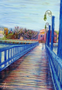 Water Over The Bridge - Colored Pencil Drawing by Nicole Barker