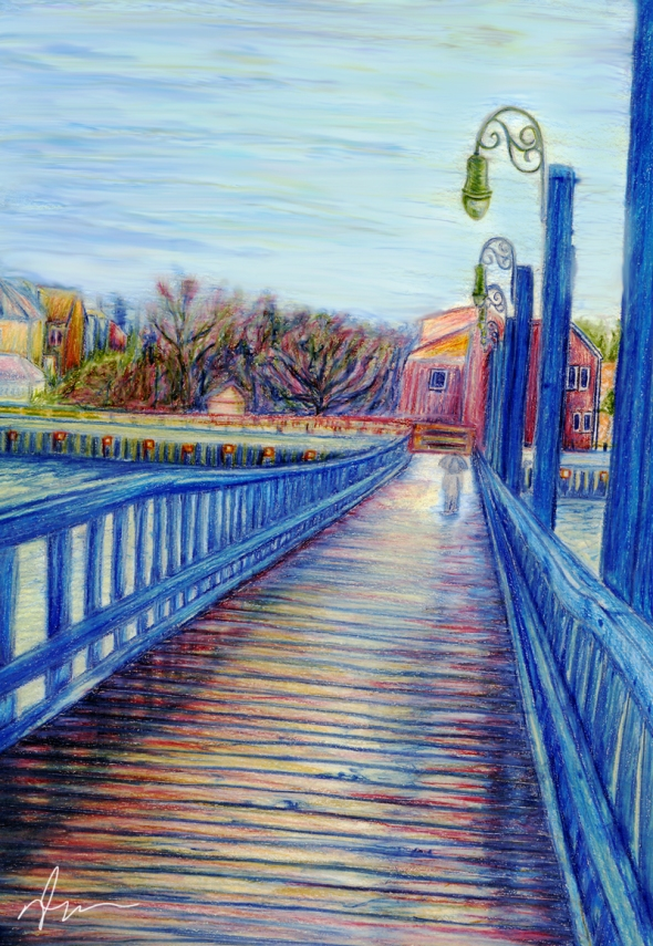 Water Over The Bridge - Colored Pencil Drawing by Nicole Cleary