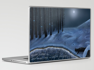 """product design – laptop skin of """"And Now My Watch Begins"""" – by Nicole Barker"""