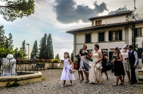 Bride Walking Out To Car - Fiesole, Italy - 10-8-2012 - photo by SuperClearyPhoto