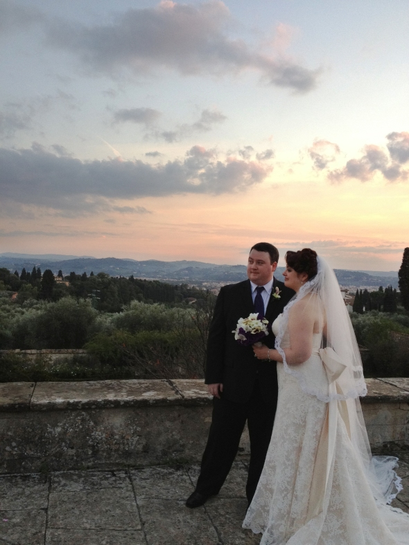 Bride and Groom After Ceremony - Fiesole, Italy - 10-8-2012 - photo by Evan O'Reilly