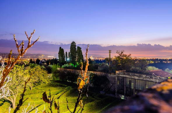 Night View Of Florence From The Wedding Venue Terrace - Fiesole, Italy - 10-8-2012 - photo by SuperClearyPhoto