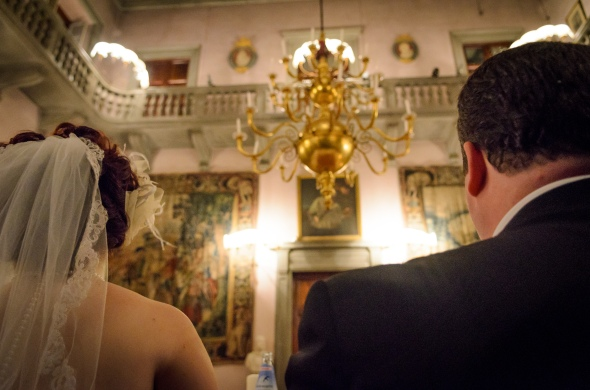 Bride And Groom Sitting At Dinner - Fiesole, Italy - 10-8-2012 - photo by SuperClearyPhoto