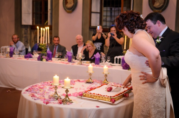 Bride And Groom Cut The Cake - Fiesole, Italy - 10-8-2012 - photo by SuperClearyPhoto