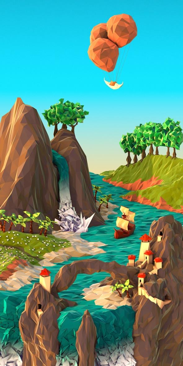 Cove - Polygon Illustration by JR Shmidt