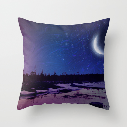 "Night cropped pillow design of ""Day And Night"" painting by Nicole Cleary"