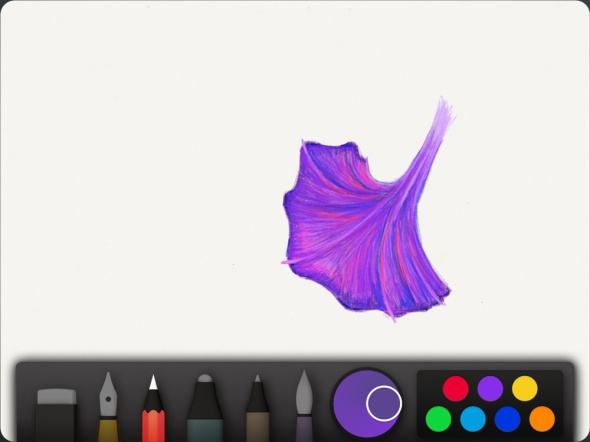 "Sketching with a colored pencil in the Paper iPad app by FiftyThree - ""Flower"" illustration by Nicole Cleary"