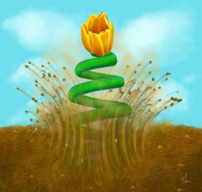 """""""Sprung"""" - Painting of a spring flower by Nicole Cleary"""
